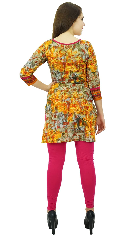 Phagun Abstract Pattern Kurti Ethnic Designer Women Cotton Kurta Casual Dress