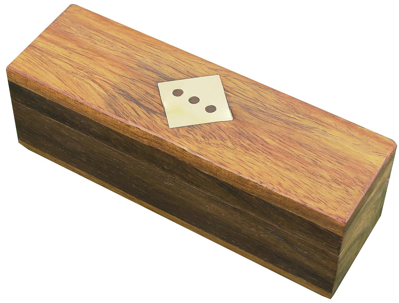 SKAVIJ Wooden Playing Wooden Dice Box Game Large Brown