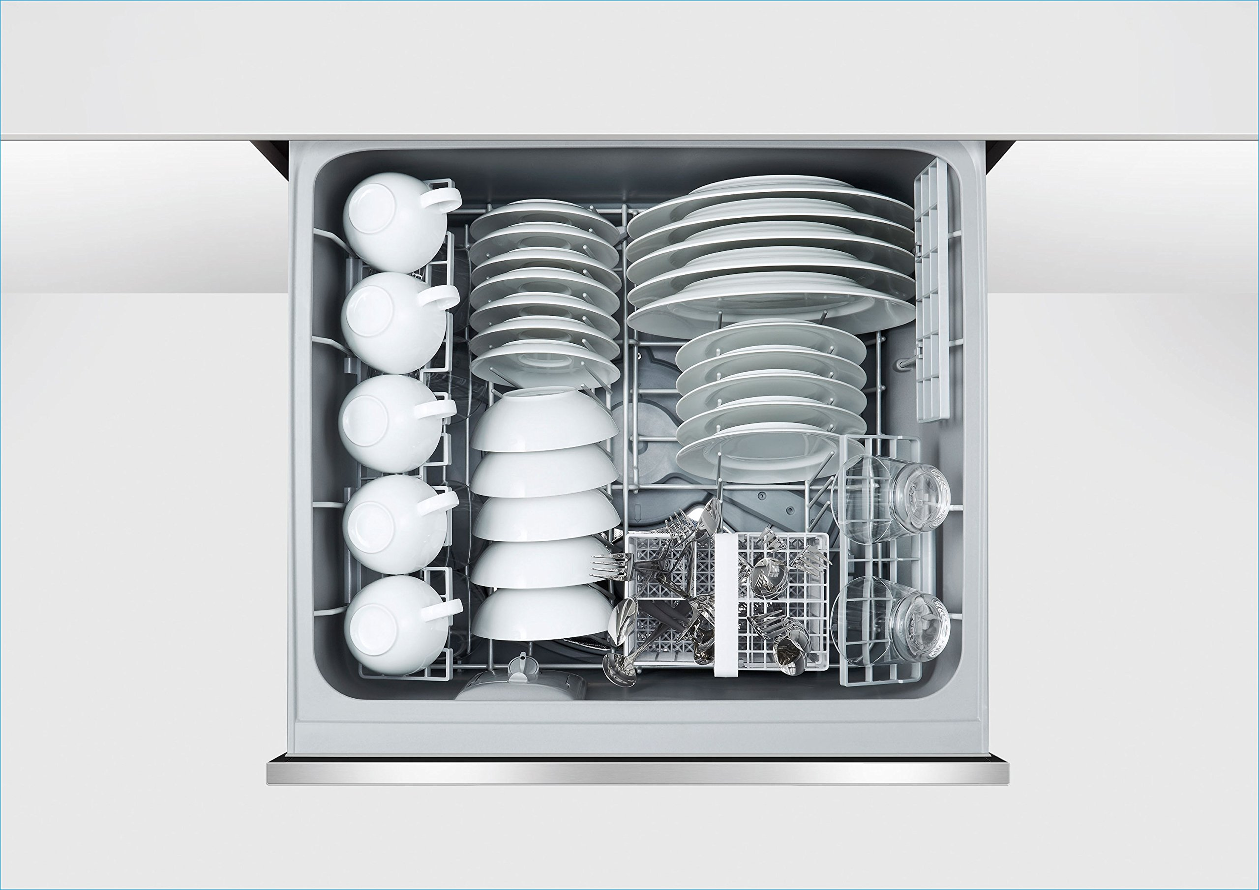 Fisher Paykel DD24DCTX9 24'' Tall Double Drawer DishDrawer Dishwasher with 14 Place Settings 2 Cutlery Baskets Child Lock SmartDrive TM Technology and Recessed Handle in Stainless