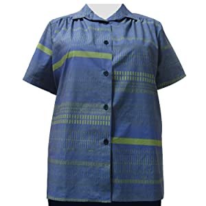 A Personal Touch Women's Plus Size Blue & Green Graph Tunic - 2X