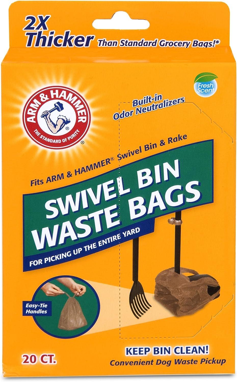 Arm & Hammer Swivel Bin Waste Bags, 20 Count, 1 Pack : Pet Waste Bags : Pet Supplies