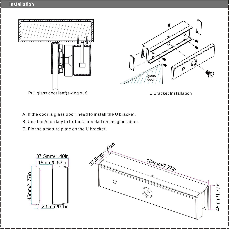 U Shape Bracket Holder For 280kg 600lbs Electric Magnetic Lock Frameless Glass Door Home & Kitchen