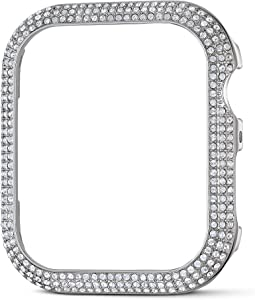 SWAROVSKI 44mm Sparkling Case Compatible with Apple Watch, Silver Tone, 44