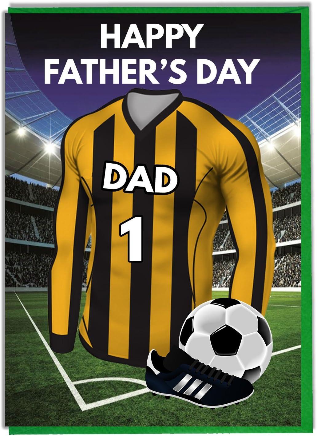Tarjeta del día del padre con temática de fútbol para un papá ...