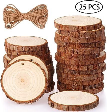 Fuyit Tranches de Bois Naturel 25 Pcs 3.1-3.5 Craft Wood kit Inachev/é pr/é-perc/é avec Trou Cercles en Bois Id/éal pour Les Arts et lartisanat D/écorations de No/ël Artisanat Bricolage 3.1-3.5