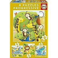Educa - Animales Salvajes Conjunto de Puzzles Progresivos, Multicolor (17147)