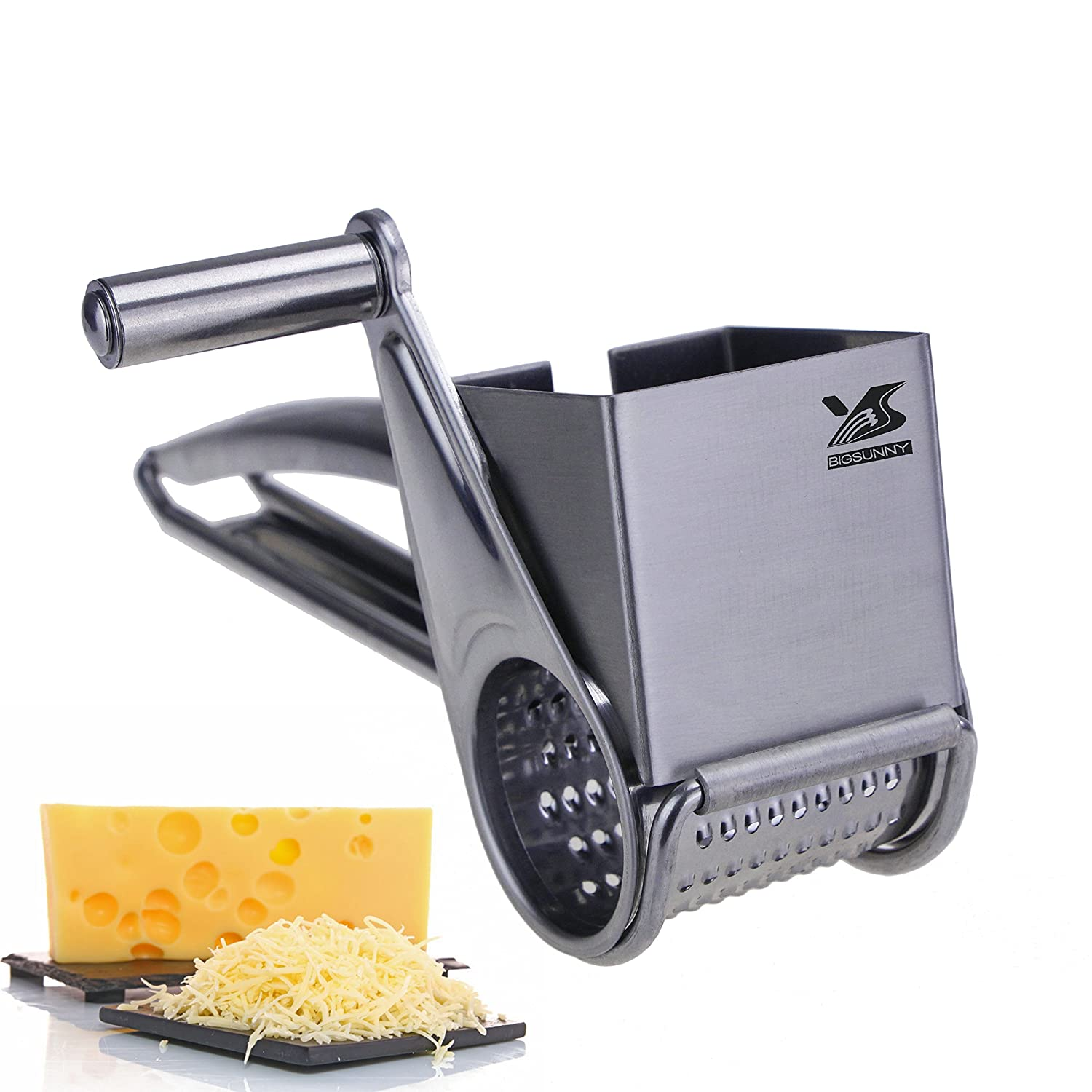BIGSUNNY Rotary Cheese Grater, Updated Version Stainless Steel Vegetable Cheese Cutter Slicer Shredder, Oversized and Thickened MSY BIGSUNNY VC1006