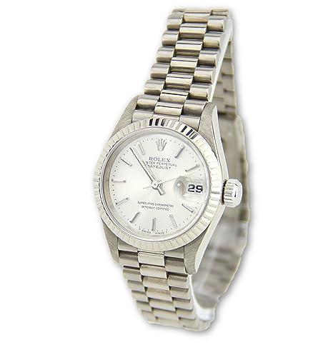 Rolex Datejust 18 K Blanco Oro Presidente de la mujer reloj 69179 (Certificado) de segunda mano: Rolex: Amazon.es: Relojes