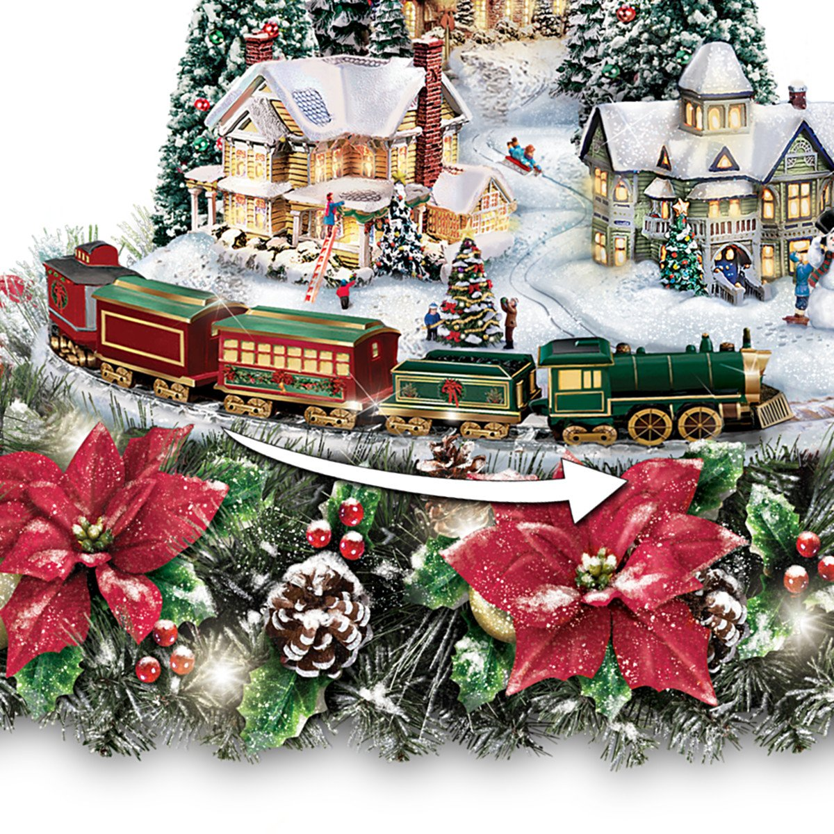Thomas Kinkade Christmas Village Floral Centerpiece with Lights Music and Motion Close up of Train
