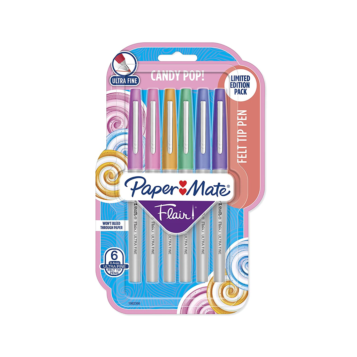 Paper Mate Flair Felt Tip Pens Limited Edition Candy Pop Pack 0.4mm Ultra Fine Point