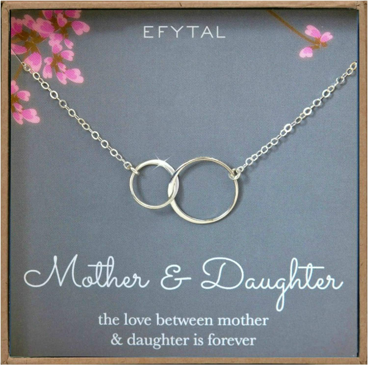 Amazon Com Efytal Mother Daughter Necklace Sterling Silver Two Interlocking Infinity Double Circles Mothers Day Jewelry Birthday Gift Clothing