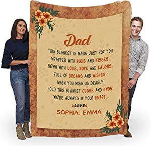 "to My Father I Love You, Customised Blanket for Father with Children's Name, Customized Gifts for Father with Quotes, Father's Day, Birthday Gifts for him. Supersoft and Cozy Blanket {60""x80""}"