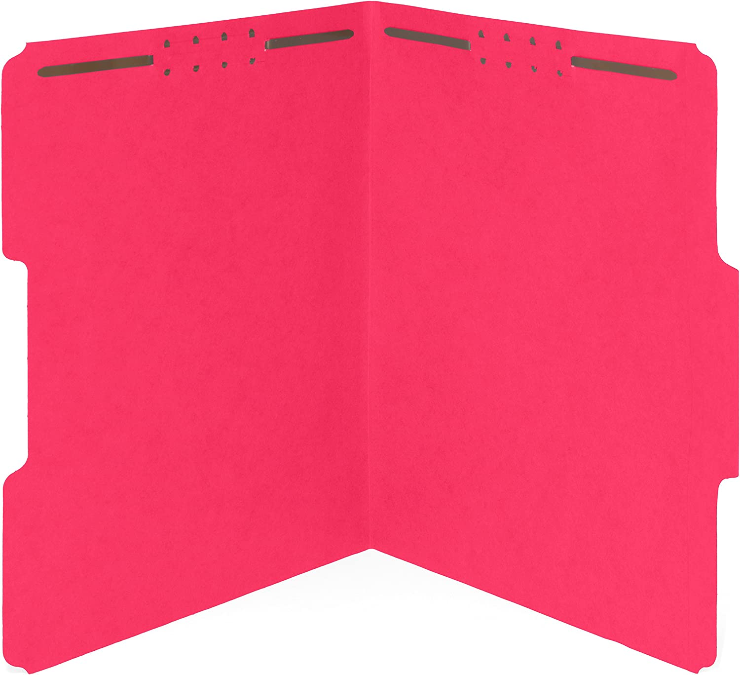 50 Red Fastener File Folders - 1/3 Cut Reinforced Assorted Tab - Durable 2 Prongs Designed to Organize Standard Medical Files, Law Client Files, Office Reports - Letter Size, Red, 50 Pack