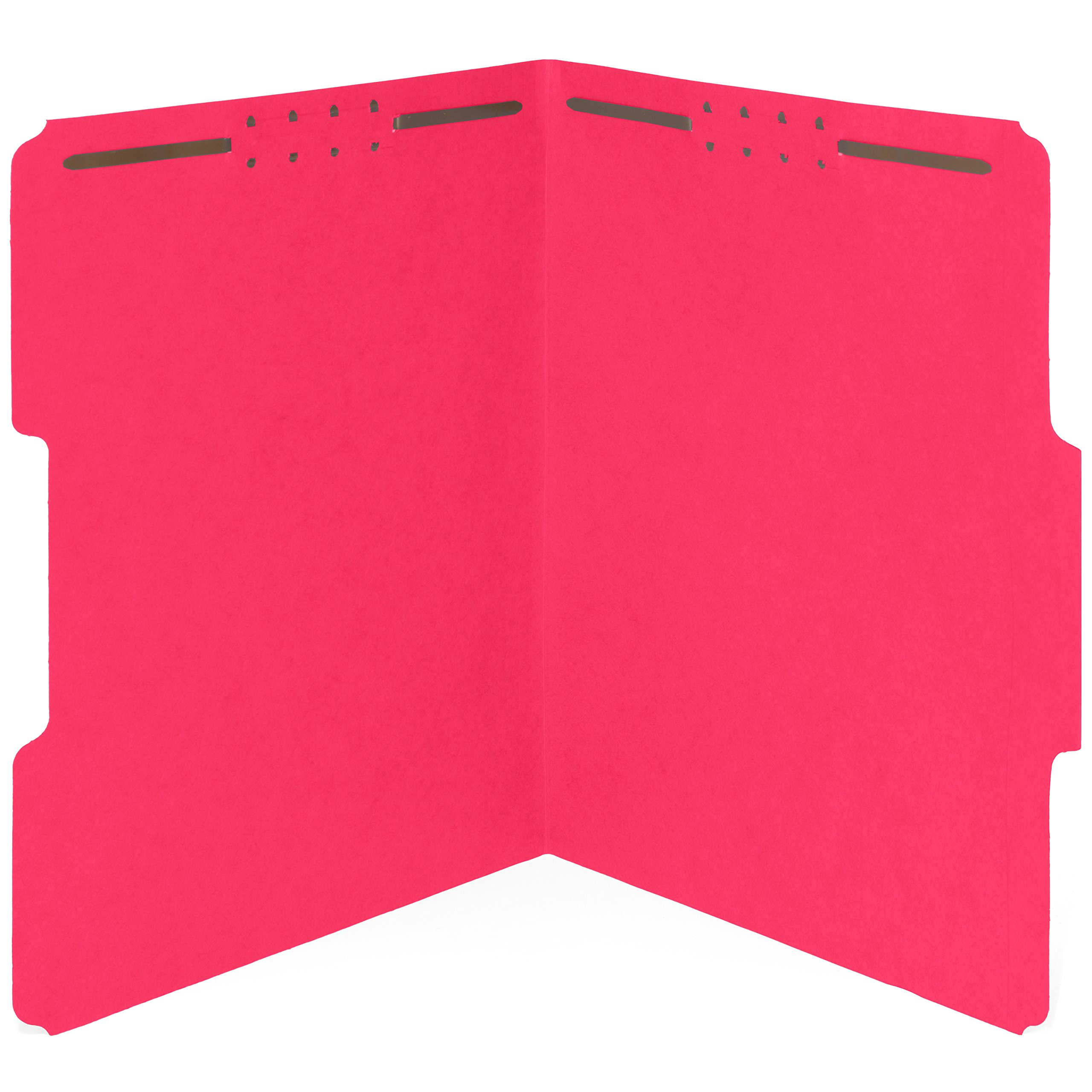 50 Red Fastener File Folders- 1/3 Cut Reinforced tab- Durable 2 Prongs designed to organize standard medical files, law client files, office reports– Letter Size, Red, 50 PACK