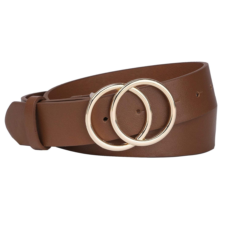 Tanpie Womens Leather Waist Belt Double Buckle For Dress Jeans Black XS