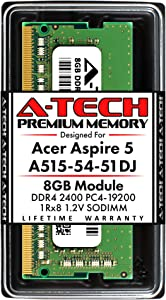 A-Tech 8GB RAM for Acer Aspire 5 Slim Laptop A515-54-51DJ | DDR4 2400MHz SODIMM PC4-19200 260-Pin CL17 1.2V Non-ECC Unbuffered Memory Upgrade Module