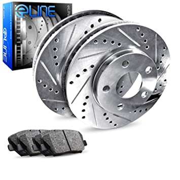 For Subaru Impreza Front Rear Black Drill Slot Brake Rotors+Ceramic Brake Pads