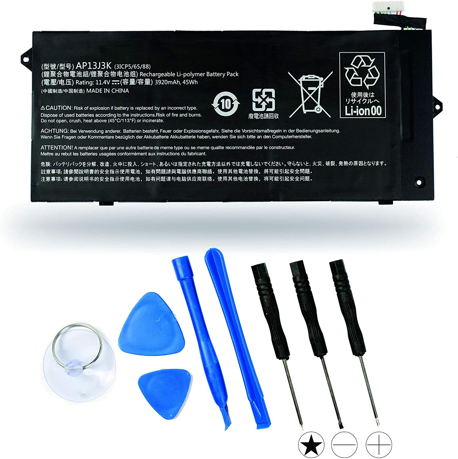 """Aluo AP13J3K Replacement Battery for Acer Chromebook 11.6"""" 11 C720-2848 C720 C720P C740 3ICP5/65/88 11.25V 45WH"""