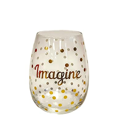 Amazoncom Stemless Gold Dot Wine Glasses Imagine Wine Glasses
