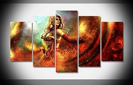 Amazon Com Mcanvas 5pcs Lina Dota 2 Wallpaper Canvas Print