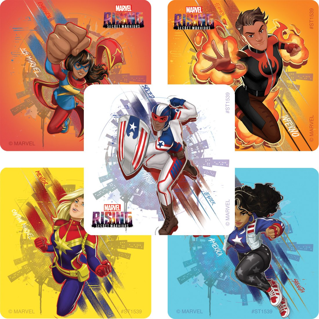 SmileMakers Marvel Rising Secret Heroes Stickers Prizes 100 per Pack SmileMakers Inc
