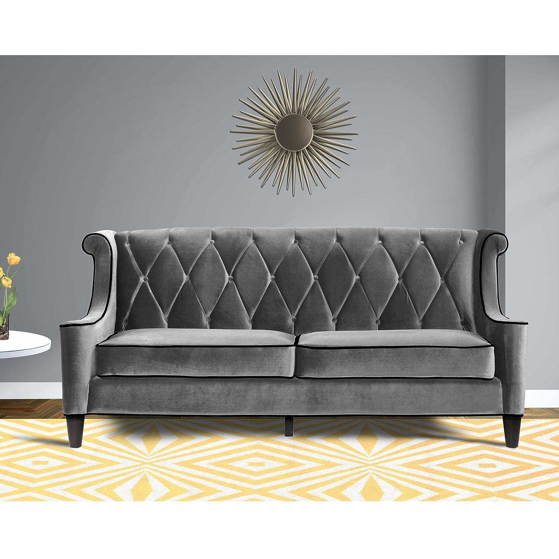 Amazon Com Armen Living Lc8443gray Barrister Sofa In Grey Velvet