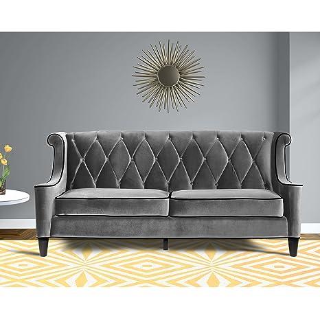Armen Living LC8443GRAY Barrister Sofa in Grey Velvet and Black Wood Finish