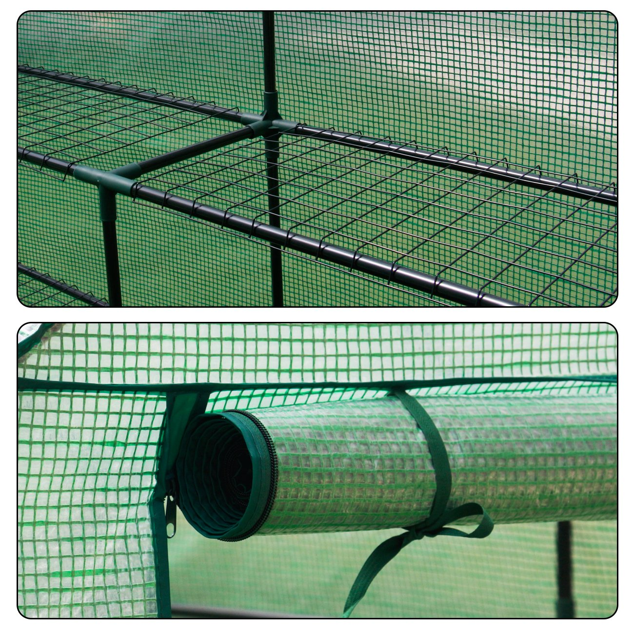 AODAILIHB Reinforced PE Net 6 Layers 8 Shelves Greenhouse Suitable for Lawn and Garden Steel Structure Assembly, 8 Fixed Buttons 4 Floor Fasteners, H x L x W:76.77 x 56.29 x 56.29 inch (02) by AODAILIHB (Image #7)