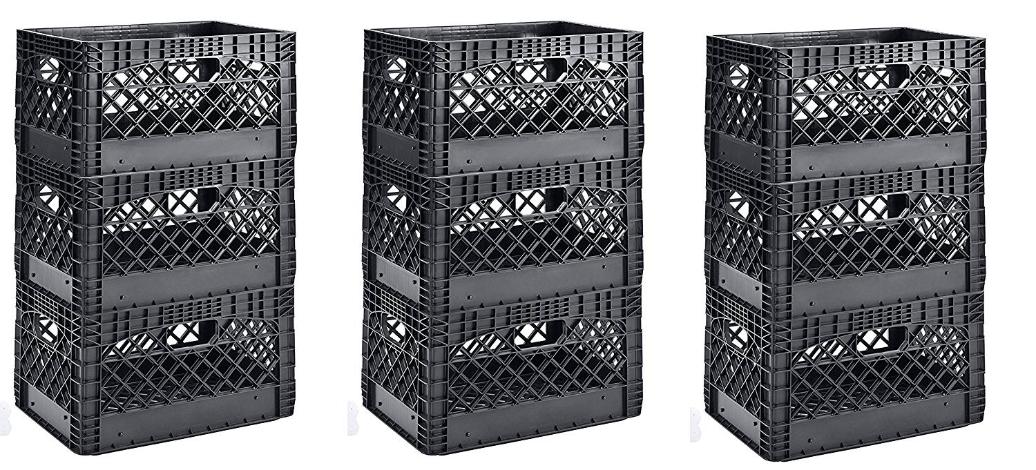 Muscle Rack PMK24QTB-3 24 quart 3 Pack black Heavy Duty Rectangular Stackable Dairy Milk Crates , 11'' Height, 19'' width (3 X 3 Pack)