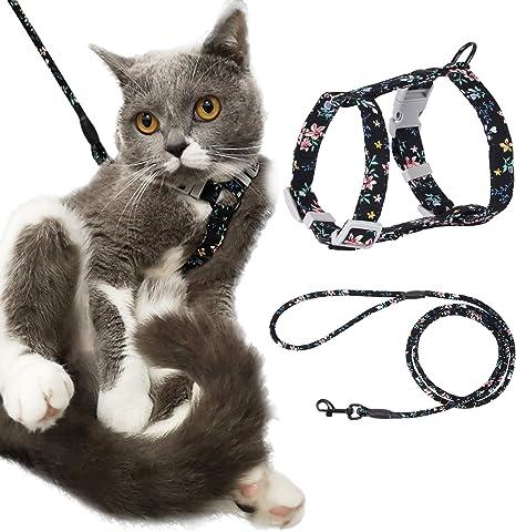 PETTOM Arnes Gato Ajustable Antiescape con Correa Cuerda Redonda Cómodo Seguridad para Pequeño Grande Gato Cachorros para Caminar Viajes (Negro S)
