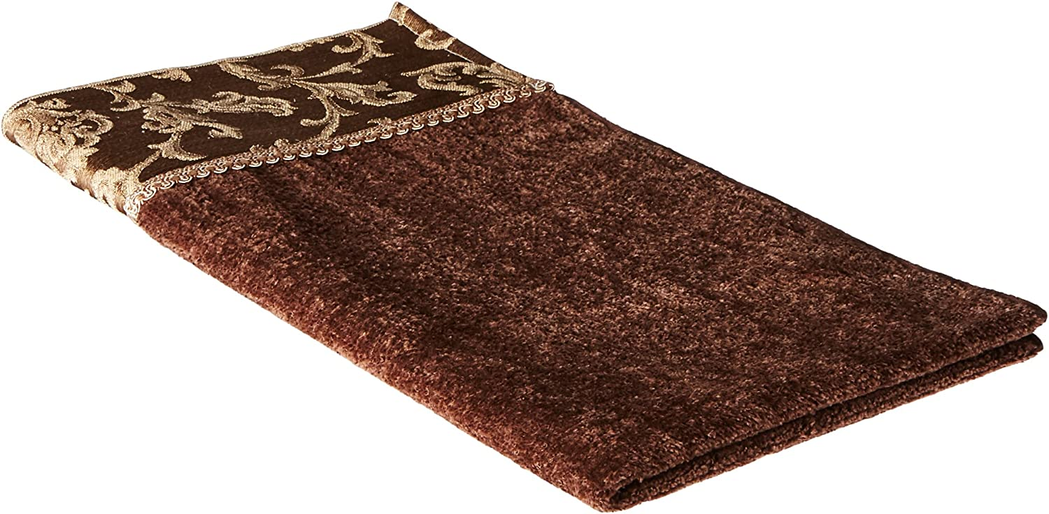 Avanti Linens Damask Fringe Wash Cloth, Mocha