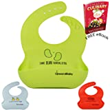 UpwardBaby Waterproof Silicone Bib - 3 Unique Designs | Food Safe Wipes Clean Easy | Soft Baby Bib Material Comfortable Mess Free Meals | Large Food Catching Pocket|Stain And Heat Resistant-FREE eBook