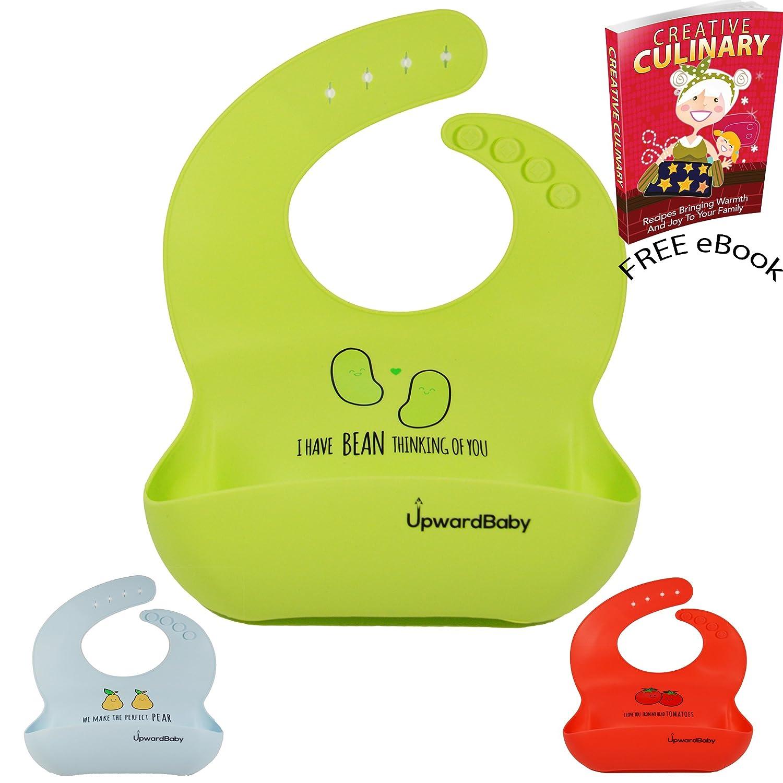 UpwardBaby Perfect PearFood Safe Waterproof Soft Silicone Baby Bib