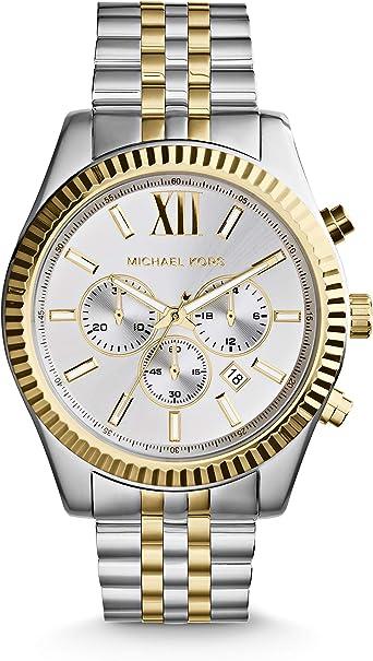 Michael Kors Reloj Cronógrafo para Hombre de Cuarzo con Correa en Acero Inoxidable MK8344: Michael Kors: Amazon.es: Relojes