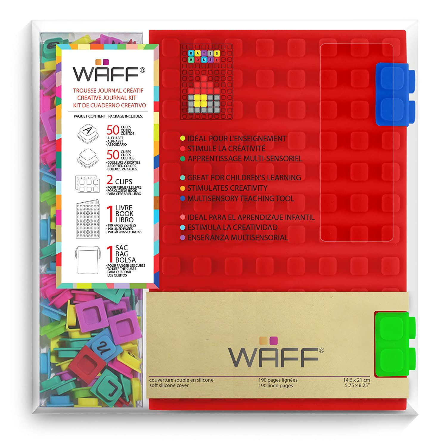 """WAFF Soft Silicone Cover Combo Personalized Notebook / Journal, Large 8.25"""" x 5.5"""", Red"""
