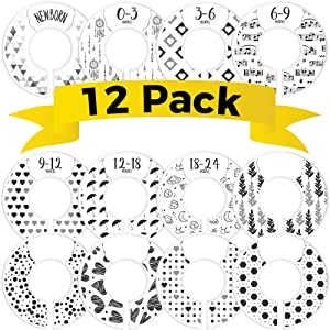 CORRURE Baby Closet Size Dividers - Complete Set of 12 Closet Dividers for Baby Clothes from Newborn to 24 Months - Best Nursery Closet Hanger Organizer for Baby Boy or Girl - Ideal Baby Gift (White)