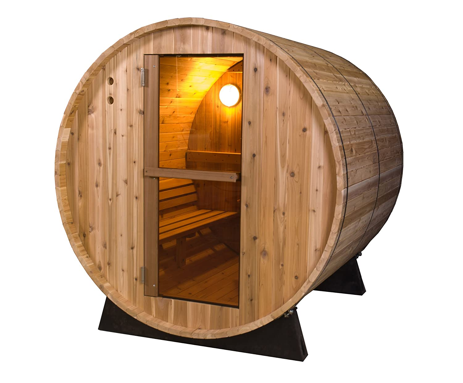 Amazon Almost Heaven Saunas 4 Person Pinnacle Barrel Sauna Rustic Cedar Garden Outdoor