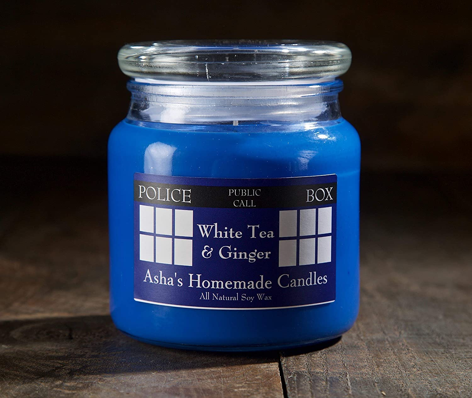 Doctor Who TARDIS Soy Candle - White Tea & Ginger - 16 oz  - Geek Gift Idea