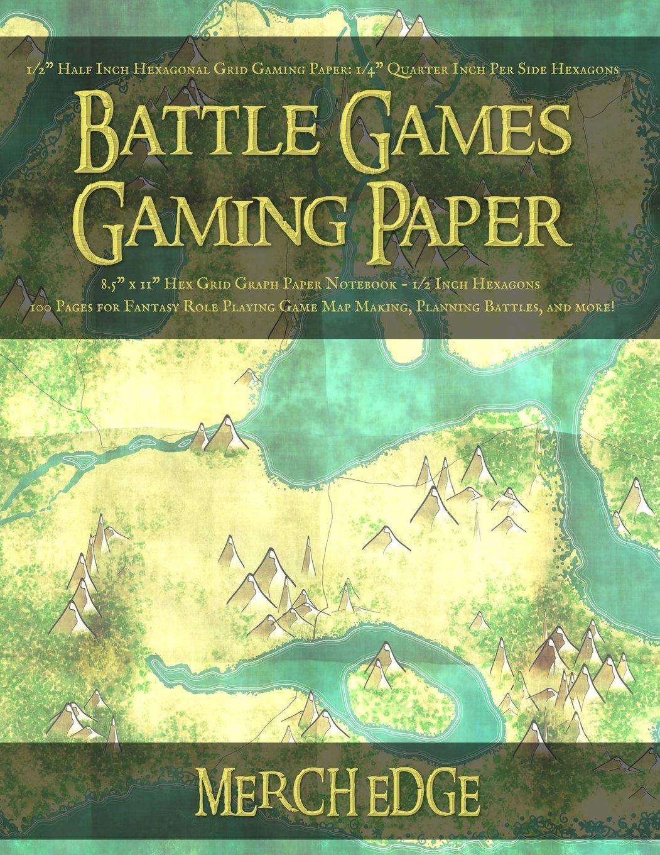 "Download Battle Games Gaming Paper: 1/2"" Half Inch Hexagonal Grid Gaming Paper: 1/4"" Quarter Inch Per Side Hexagons 8.5"" x 11"" Hex Grid Graph Paper Notebook ... - 1/4"" Quarter Inch Per Side - No Margins pdf"