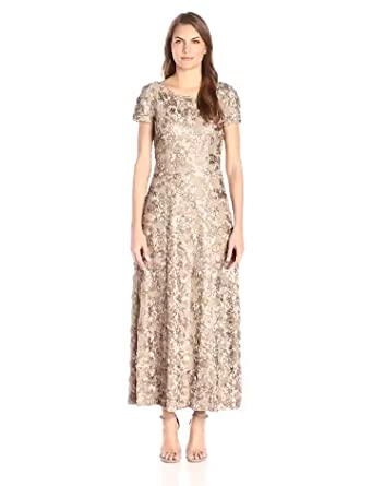 b0ac37fd1c2 Alex Evenings Women s Long A-Line Rosette Dress with Short Sleeves and  Sequin Detail