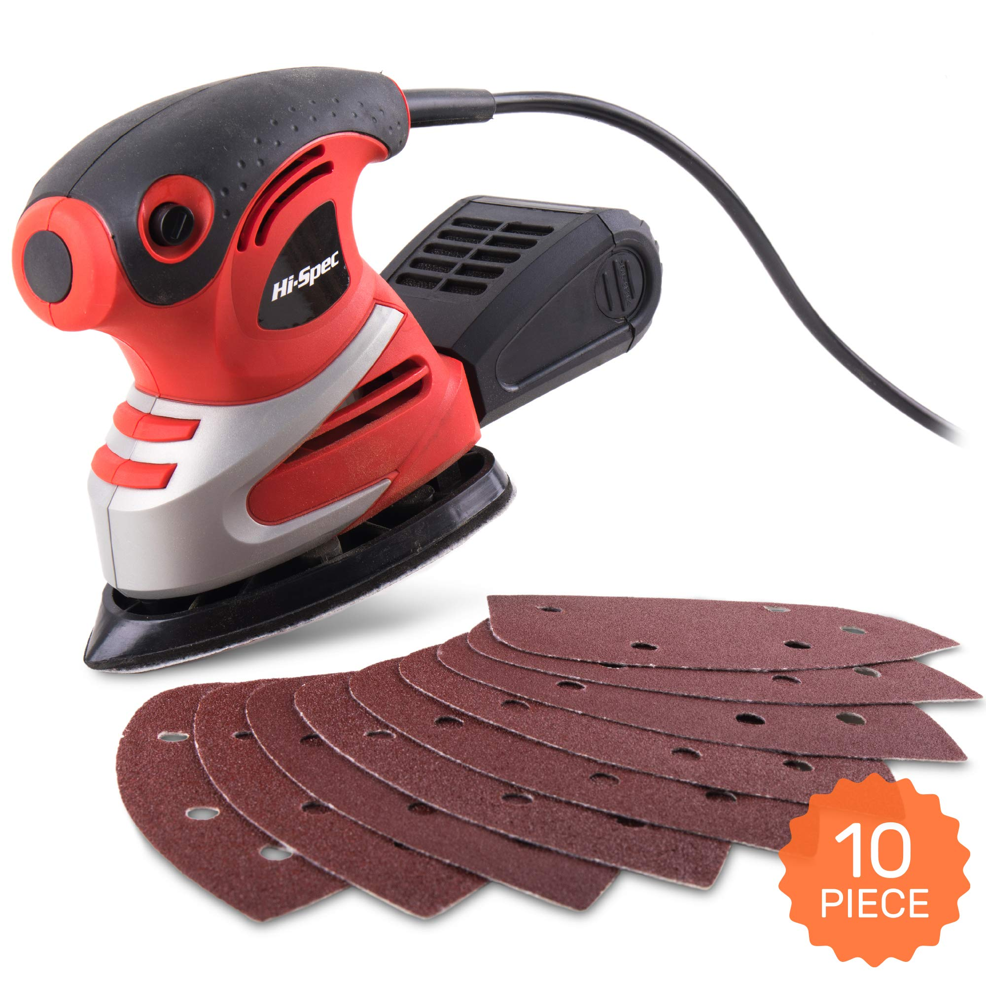 Hi-Spec 200W Palm Detail Orbital Mouse Sander with Dust Collector & 10pc Sanding Pad Kit for Removing Paint, Varnish, Stains, Preparing Furniture, Polishing, Smoothing Out & Sanding Down Wood by Hi-Spec