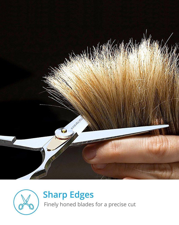 Equinox Professional Shears Razor Edge Series - Barber Hair Cutting Scissors/Shears - 6.5'' - Japanese Stainless Steel Hair Scissors – Mustache Scissors and Barber Scissors with Fine Adjustment Screw by Equinox International (Image #6)