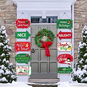 Christmas Photo Booth Props, Christmas Porch Signs Hanging Banners, 10 Pieces Christmas Party Decorations Sign Banners for Home Outdoor Indoor Wall Door Decor