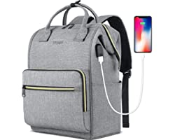Laptop Backpack for Women Men, Travel Backpack Purse for 15.6 Inch Laptop with RFID Pocket USB Charging Port, College School