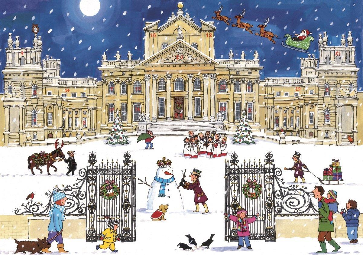Alison Gardiner Famous Illustrator Unique Traditional Advent Calendar - Designed in England - Beautiful Festive Scene at Blenheim Palace