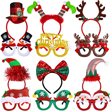 URATOT 9 Pack Creative Holiday Headbands Christmas Party Costume Headwear Elves Party Hats Reindeer Headbands for Christmas Accessory