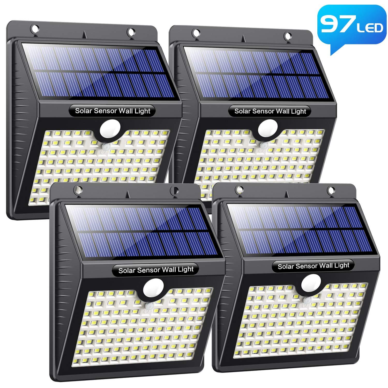 Lampe Solaire Extérieur, Pxwaxpy [ 97 LED Lot de 4] Éclairage Solaire Extérieur Détecteur de Mouvement, Spot Solaire Extérieur avec 3 Modes Intelligents Lumière Solaire Étanche pour Jardin product image
