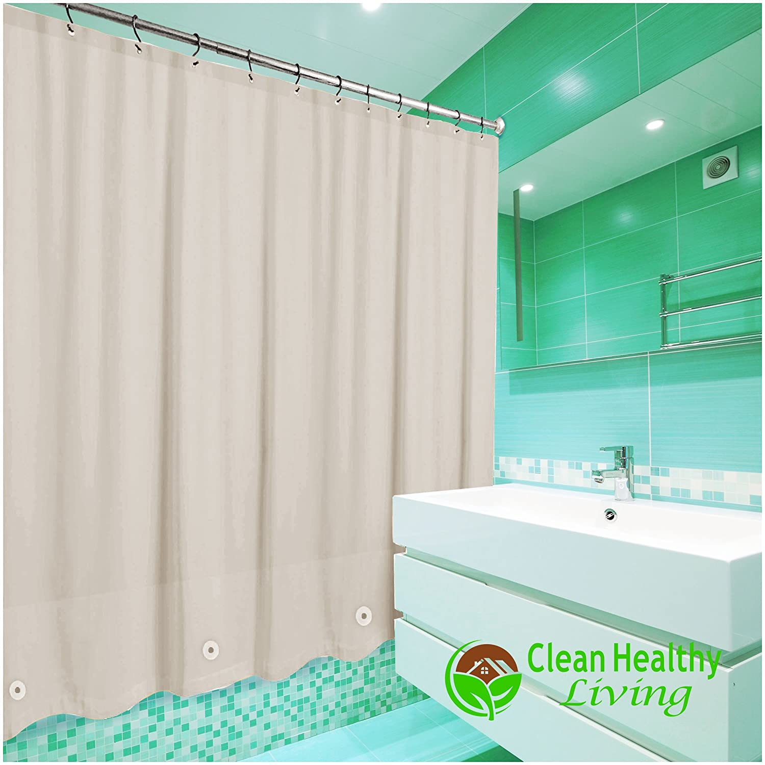Clean Healthy Living Heavy Duty PEVA Shower Liner Curtain Odorless Anti