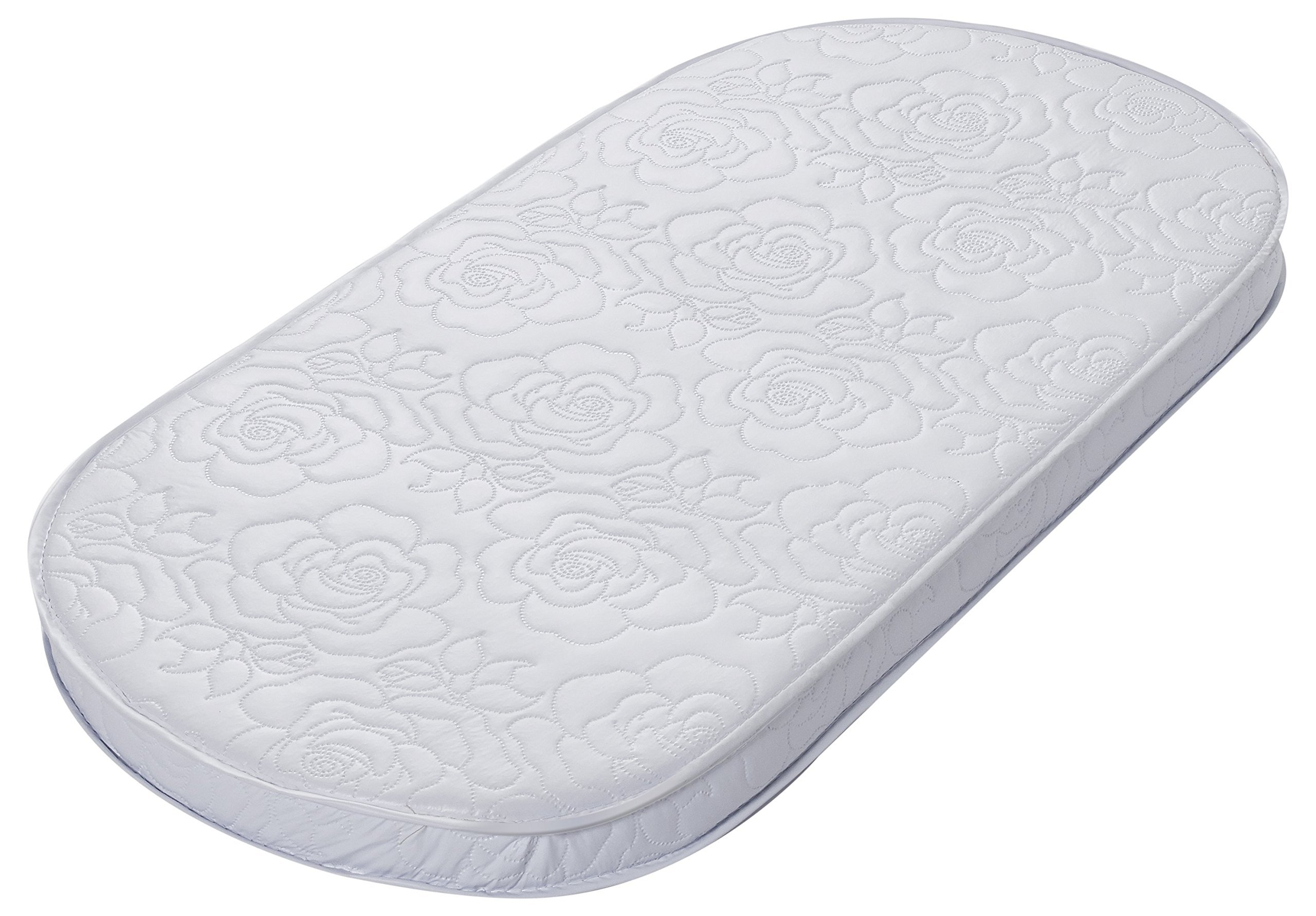 Big Oshi Waterproof Oval Baby Bassinet Mattress - Waterproof Exterior - Thick, Soft, Breathable Foam Interior - Comfy, Padded Design, Also Fits Portable Bassinets, 16''x32''
