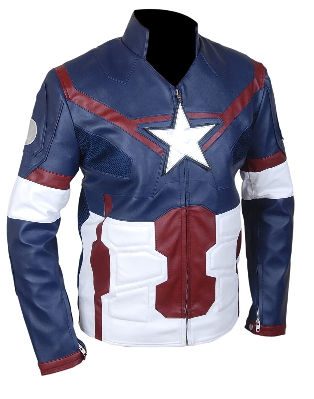 "Avengers ""Age Of Ultron"" Captain America ""CHRIS EVAN'S"" Faux (Artificial) Leather Jacket-p"
